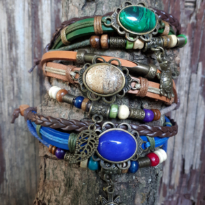 Leren armband & edelsteen