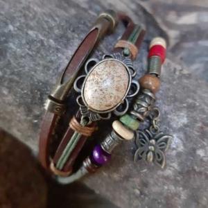 Armband edelsteen & leer
